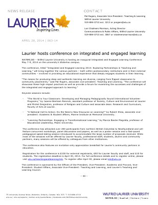 063-2014 : Laurier hosts conference on integrated and engaged learning