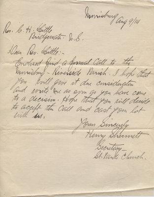 Henry Shermett to Carroll Herman Little, August 9, 1914