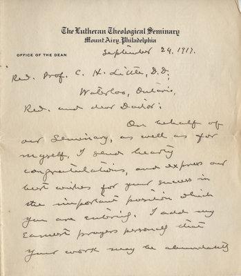 Henry E. Jacobs to  Carroll Herman Little, September 24, 1917