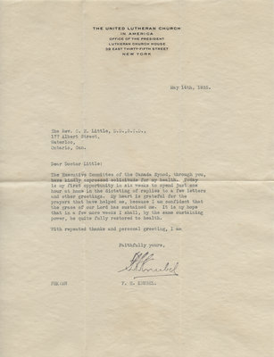 Typed letter from Frederick H. Knubel to  Carroll Herman Little, May 14, 1935