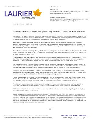 064-2014 : Laurier research institute plays key role in 2014 Ontario election