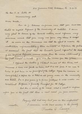 Preston A. Laury to Carroll Herman Little, July 9, 1917