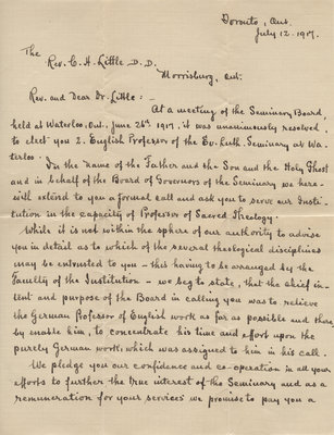 Call from the Board of Governors of the Evangelical Lutheran Seminary of Canada to Carroll Herman Little, July 12, 1917