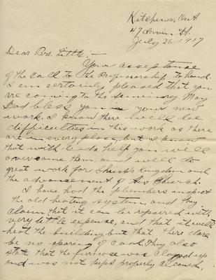 H. J. Behrens to Carroll Herman Little, July 26, 1917