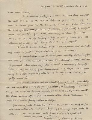 Preston A. Laury to Carroll Herman Little, August 6, 1917