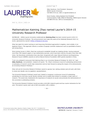 065-2014 : Mathematician Kaiming Zhao named Laurier's 2014-15 University Research Professor