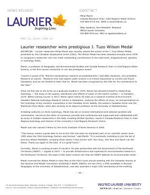 068-2014 : Laurier researcher wins prestigious J. Tuzo Wilson Medal