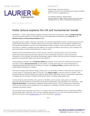 071-2014 : Public lecture explores the UN and humanitarian trends
