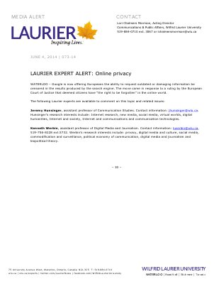 073-2014 : LAURIER EXPERT ALERT: Online privacy