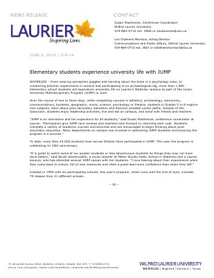 074-2014 : Elementary students experience university life with JUMP