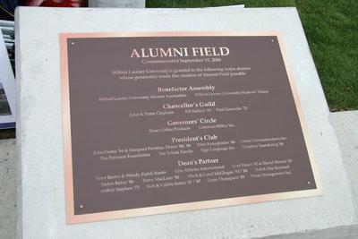 Plaque, Alumni Field, Wilfrid Laurier University