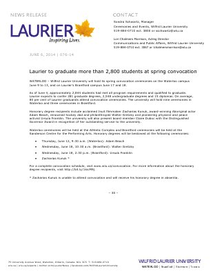 076-2014 : Laurier to graduate more than 2,800 students at spring convocation