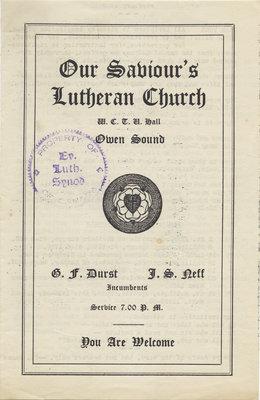 Our Saviour's Lutheran Church program, 1933