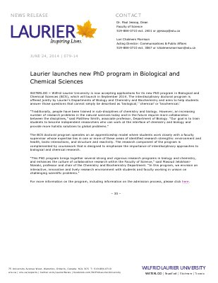 079-2014 : Laurier launches new PhD program in Biological and Chemical Sciences