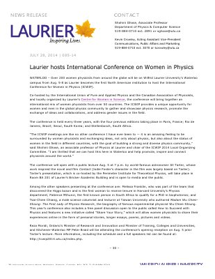 085-2014 : Laurier hosts International Conference on Women in Physics