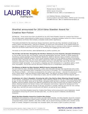 086-2014 : Shortlist announced for 2014 Edna Staebler Award for Creative Non-Fiction