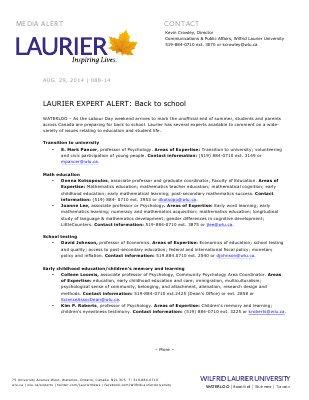 088-2014 : LAURIER EXPERT ALERT: Back to school