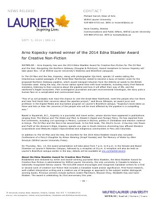 089-2014 : Arno Kopecky named winner of the 2014 Edna Staebler Award for Creative Non-Fiction