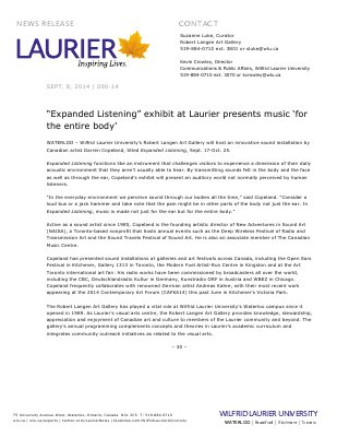 """090-2014 : """"Expanded Listening"""" exhibit at Laurier presents music 'for the entire body'"""