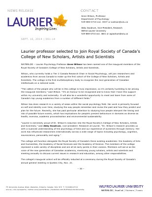 091-2014 : Laurier professor selected to join Royal Society of Canada's College of New Scholars, Artists and Scientists
