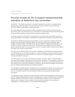 092-2014 : Province invests $3.3m to support entrepreneurship education at Waterloo's two universities