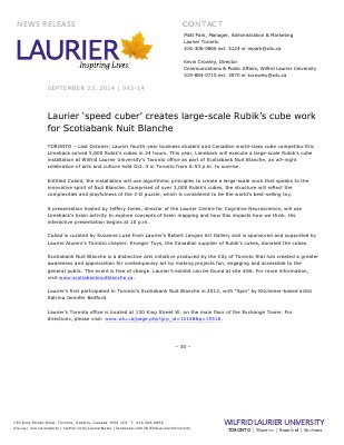 093-2014 : Laurier 'speed cuber' creates large-scale Rubik's cube work for Scotiabank Nuit Blanche