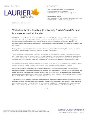 094-2014 : Waterloo family donates $1M to help 'build Canada's best business school' at Laurier