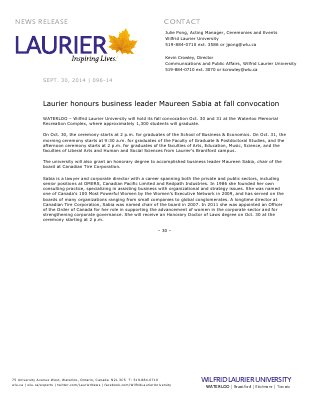 096-2014 : Laurier honours business leader Maureen Sabia at fall convocation