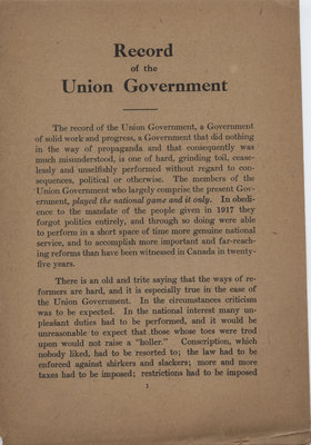 Record of the Union government