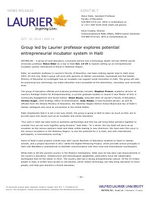 099-2014 : Group led by Laurier professor explores potential entrepreneurial incubator system in Haiti