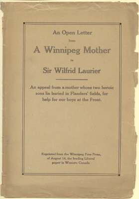 An open letter from a Winnipeg mother to Sir Wilfrid Laurier