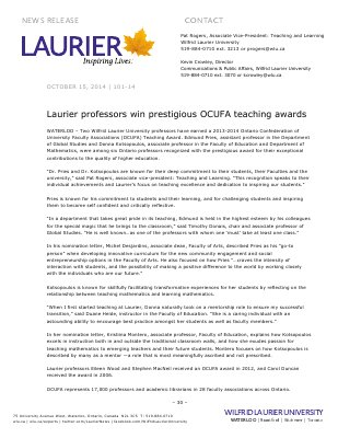 101-2014 : Laurier professors win prestigious OCUFA teaching awards