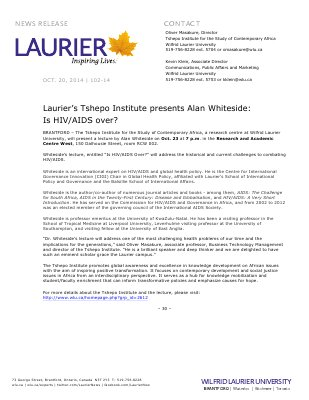 102-2014 : Laurier's Tshepo Institute presents Alan Whiteside: Is HIV/AIDS over?