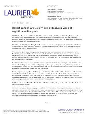 104-2014 : Robert Langen Art Gallery exhibit features video of nighttime military raid