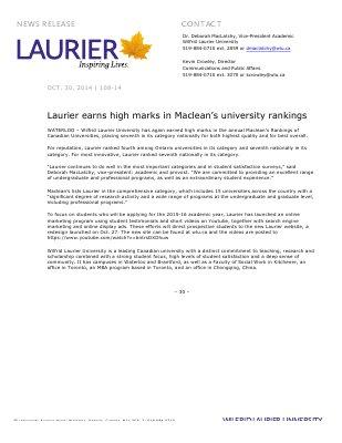108-2014 : Laurier earns high marks in Maclean's university rankings
