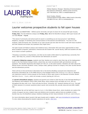 113-2014 : Laurier welcomes prospective students to fall open houses