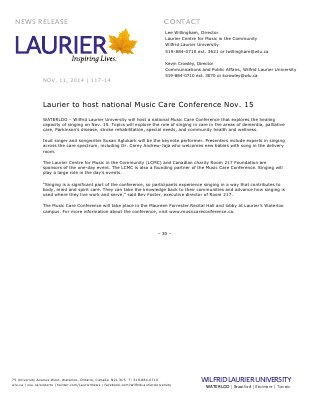 117-2014 : Laurier to host national Music Care Conference Nov. 15