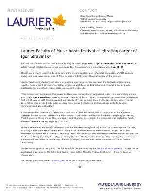 120-2014 : Laurier Faculty of Music hosts festival celebrating career of Igor Stravinsky