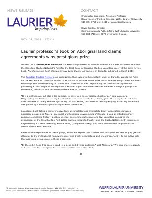 122-2014 : Laurier professor's book on Aboriginal land claims agreements wins prestigious prize