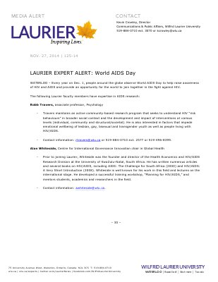125-2014 : LAURIER EXPERT ALERT: World AIDS Day