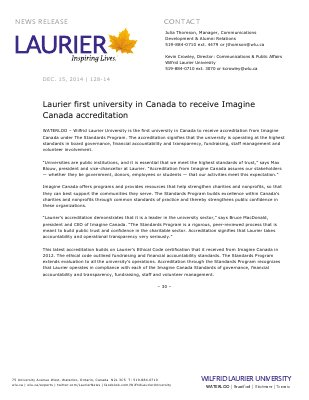 128-2014 : Laurier first university in Canada to receive Imagine Canada accreditation
