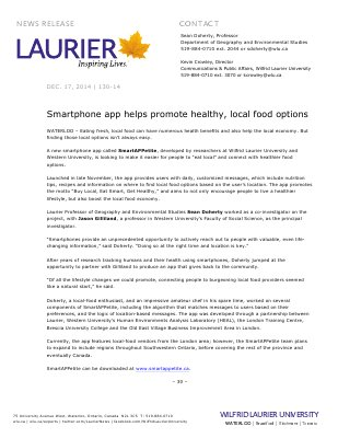 130-2014 : Smartphone app helps promote healthy, local food options