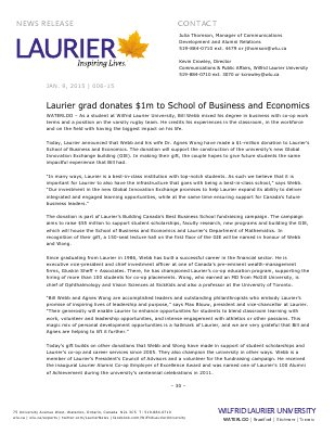 006-2015 : Laurier grad donates $1m to School of Business and Economics