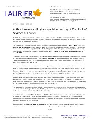 007-2015 : Author Lawrence Hill gives special screening of The Book of Negroes at Laurier