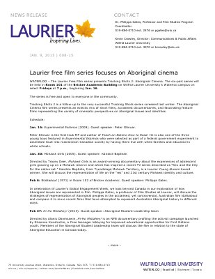 008-2015 : Laurier free film series focuses on Aboriginal cinema