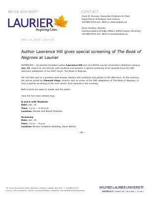 010-2015 : Author Lawrence Hill gives special screening of The Book of Negroes at Laurier