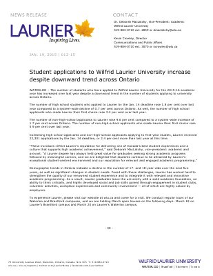 012-2015 : Student applications to Wilfrid Laurier University increase despite downward trend across Ontario
