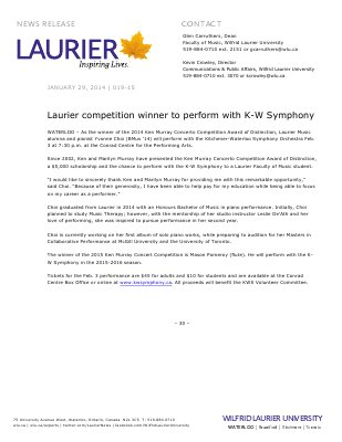 019-2015 : Laurier competition winner to perform with K-W Symphony