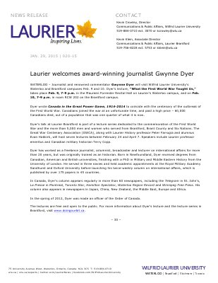 020-2015 : Laurier welcomes award-winning journalist Gwynne Dyer
