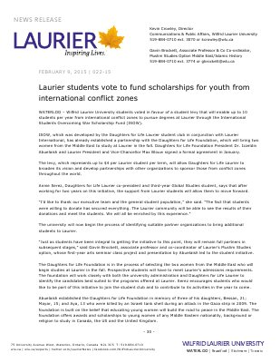 022-2015 : Laurier students vote to fund scholarships for youth from international conflict zones